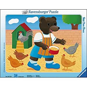 Ravensburger - Puzzle enfant - Petit Ours Brun Et Les Poules - 38 Pièces