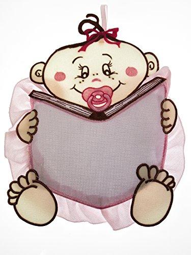 Fiocco nascita/coccarda bimbo con libro rosa in aida da ricamare