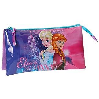 Disney Frozen- Estuche portatodo Triple, Color Rosa, 22 cm (Joumma 49943)