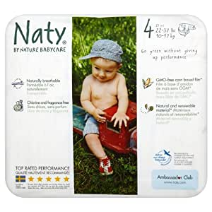 Naty by Nature Babycare Size 4 (15-40 lbs/7-18 kg) Nappies - 4 x Packs of 32 (128 Nappies)