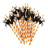 Comfysail 50 Stück Papier Trinkhalme Streifen Papierstrohhalme Einweg-Strohhalme Halloween Cocktail Party