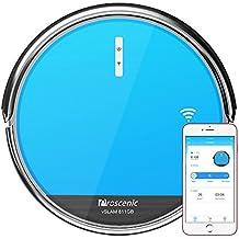 Proscenic 811GB Aspirateur Robot Connecté Wi-Fi, Nettoyeur et Laveur 3 en 1, Nettoyage Efficace sur Programmation, 79mm Ultra-mince, Autonomie de 130 minutes, Compatible avec Alexa, Bordure Magnétique, Bleu