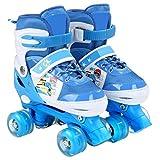 ZCRFY Einstellbare Rollschuhe Quad Kids Doppelte Reihe 4 Räder Rollerblades Für Anfänger Kleinkinder Kinder Jungen Mädchen Schlittschuh Geburtstagsgeschenk,Blue-Set3-M(33-37) Code