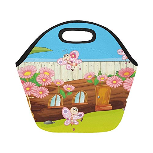 Isolierte Neopren Lunch Bag Schmetterlinge Holzhaus schöne Natur große wiederverwendbare thermische dickes Mittagessen Tragetaschen für Brotdosen für draußen, Arbeit, Büro, Schule