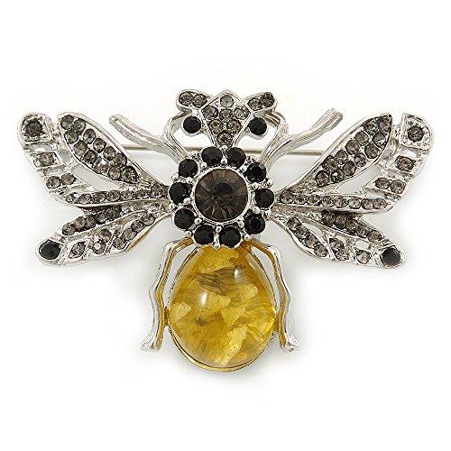 Art Deco Bumble-Bee Dim Grey Crytal Brooch In Silver Tone - 55mm Across - Ton Dim
