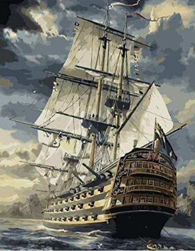 QHZCJ DIY Ölgemälde Großes Segelschiff Ölgemälde Geschenk für Erwachsene Kinder Malen Nach Zahlen Kits Home Haus Dekor -