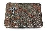 MEMORUM Grabmale Grabplatte, Grabstein, Grabkissen, Urnengrabstein, Liegegrabstein Modell Pure 40 x 30 x 5 cm Paradiso-Granit, Poliert inkl. Gravur (Aluminium-Ornament Baum 2)