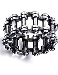 Shanxia Skillful - Anillo de Cadena de Acero Inoxidable Estilo Steampunk, Estilo gótico, para Motocicleta, Moto, Moto, Motociclista