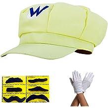 Gorra Súper Mario conjunto completo AMARILLO WARIO con guantes y barbas de cola para adultos y niños disfraz de carnaval carnaval sombreros cap cap