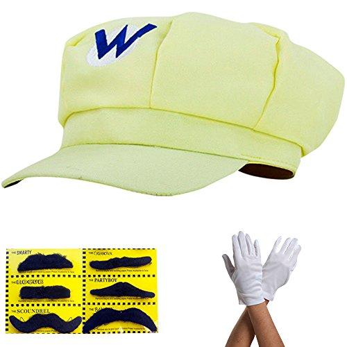 Super Mario Mütze GELB WARIO Komplett SET mit Handschuhe und Klebe-Bärte für Erwachsene und Kinder Karneval Fasching Verkleidung Kostüm Mützen Hut Cap Herren Damen (Kostüm Hut Wario)