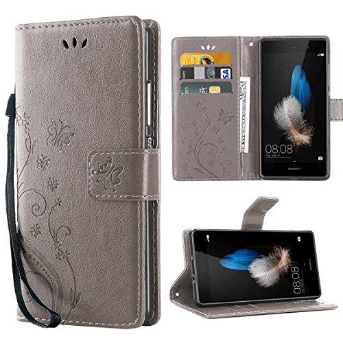 Huawei P8 Lite Coque , P8 Lite Coque Rabat Portefeuille PC Cuir Anti choc avec Béquille Housse Etui pour Huawei P8 Lite 5.0 Pouce Gris