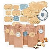 25 kleine braune Kekstüten Pralinentüten Gebäcktüten Papiertüten mit Boden + Pergamin (7 x 4 x 20,5 cm) + 34 (2B) beige hell-blau graue Weihnachtssticker Geschenk-Aufkleber von 4 bis 6,5 cm (14132)