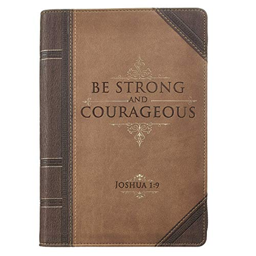 Journal Lux-Leather with Zipper Be Strong Joshua 1:9