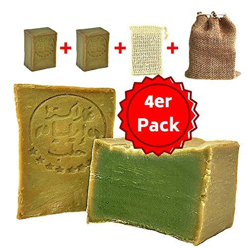 Aleppo Seife Set 2x ca. 200 gr. 60% Olivenöl, 40% Lorbeeröl + Sisal Seifensäckchen + Seifenbeutel, Haarseife, Rasierseife, geeignet für unreine Haut,Ohne Zusatz von Chemie,Handarbeit nach altem Rezept