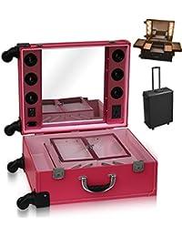 Polironeshop Vega maleta de belleza portátil con espejo, luces y ruedas, manicura y maquillaje, para uso profesional de peluqueros y esteticistas