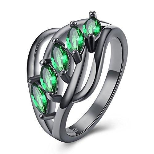 Zantec Art und Weise weiblicher Ring grüner Kristallzircon Legierungs Hochzeits Verlobungsring Frauen Schmucksache Halloween Geschenk (Verschiedene Arten Von Zombies Kostüme)