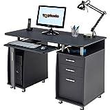 Piranha Schreibtisch für Home Office mit A4 Ablage und Lagerung in Grafit schwarz, PC2G