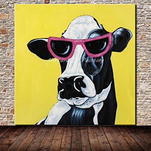 Handgemaltes Ölgemälde Auf Leinwand,Schwarze Und Weiße Tiere Kuh Mit Sonnenbrille, Gelber Hintergrund Handbemalte Modernes Wohnzimmer Wand Kunst Bilder Dekoration Ölgemälde Auf Leinwand Kunst K