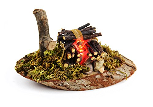 Touch of Nature Miniatur-Feuerstelle für den Garten, mit LED-Beleuchtung, 11,4 cm