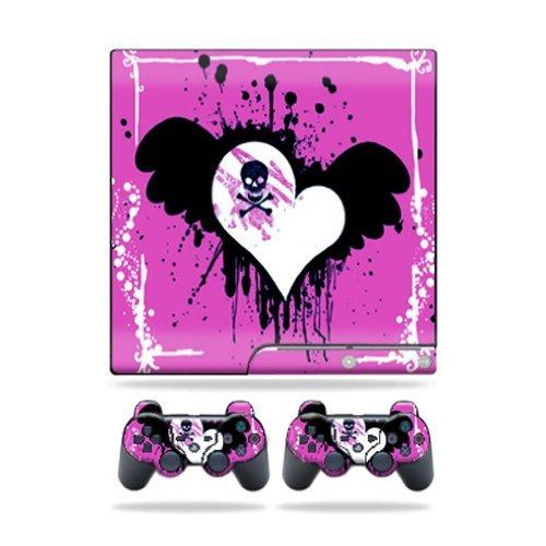 MightySkins Vinyl Schützende Haut Aufkleber Cover für Sony Playstation 3PS3Slim Skins + 2Controller Skins Aufkleber Poison Heart