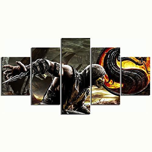 CNBHHH Leinwanddrucke Mortal Kombat 5 Stück Spiel Poster Bilder Wandkunst Malerei Wohnkultur Moderne Wandbild Hd Druck Kein Rahmen (Größe C)