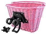 Iso Trade Fahrrad Weidenkorb Geflochten Abnehmbar Groß klick-System 5kg/10kg Traglast #2352, Farbe:Rosa