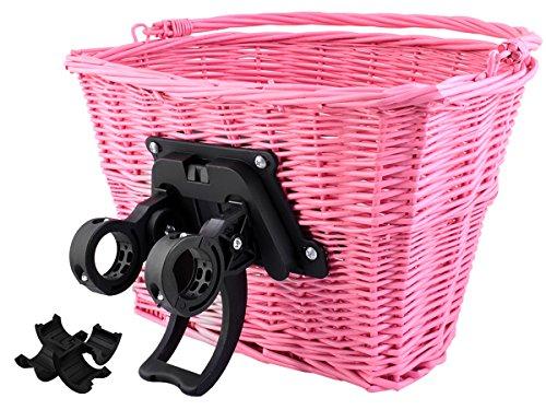 ISO TRADE Fahrrad Weidenkorb Geflochten Abnehmbar Groß klick-System 5kg/10kg Traglast 2352, Farbe:Rosa