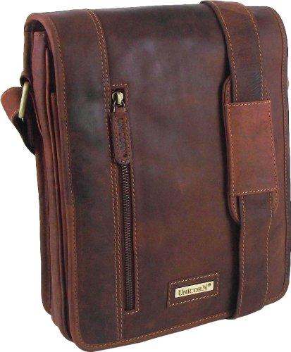 Unicorn Transporttasche / Tragetasche für iPad, Ebook oder Tablets (Echt-Leder) cognacfarben
