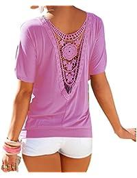 Juleya Blusa Mujer Oversize Encaje Camisa Mujer Camiseta Manga Corta O Cuello Tops Elegante Camisetas de Corte Holgado Camisas de Color Sólido Suave y Cómodo