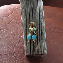 Oro 18k e la Bella Addormentata turchese orecchini sfaccettato 2 Pietra