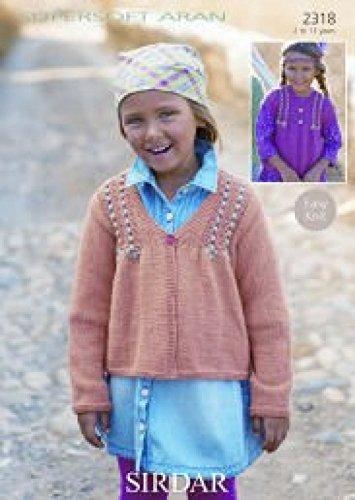 Sirdar Mädchen Strickjacken Muster 2318Aran -