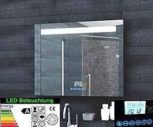 Miroir lumineux de salle de bain multimédia avec affichage de l'heure, touches de commande tactiles pour radio et MP3 et support pour smartphone 80 x 60 cm