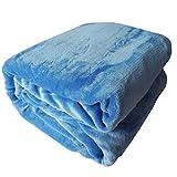 Cálido, esponjoso, mantas de franela, sofá cama, tiro de viaje de invierno, microfibra 100% poliéster, sin arrugas, resistente a la decoloración (azul celeste, 150_x_200_cm)