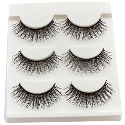 wyxhkj faux cils 3paires longues croix faux cils maquillage naturel faux épais cils yeux noirs (F)