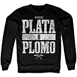 Officially Licensed Merchandise Narcos - Plata o Plomo Sweatshirt (Black), Medium