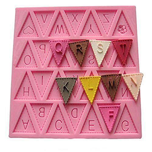 Brief Flagge Bunting Silikon Dekorieren Schokoladen-Kuchen-Form-Fondant-Backen - Rosa 4