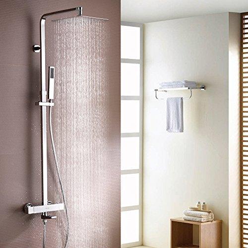 Duschsystem mit Thermostat, ESNBIA® Duschen Eckig Duscharmatur Regenbrause Handbrause Kopfbrause Regendusche für Handbürsten Dusche Combo Set (Dusche Wasserhahn-combo Badewanne Und)