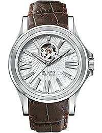 Bulova Accu Swiss Kirkwood Reloj Automático para Hombre con Correa de Piel  de Plata Esfera analógica Pantalla y… 46945b4d066c