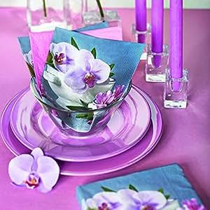 Lot de 20 serviettes en papier-composition orchidée composition de fleurs/orchidées 33 x 33 cm