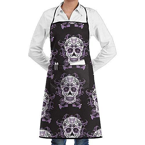 Kostüm Tot Chef - UQ Galaxy Küche Schürzen,Tag des Toten Schädels Schürze Lace Unisex Chef verstellbare Lange vollschwarze Küche Schürzen Lätzchen mit Taschen für BBQ Backen Crafting