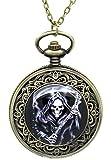 Souarts Antique Bronze Color Round Pocket Watch with Skeleton Skull Photo 76cm