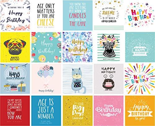 20 x Geburtstagskarten Multi-Pack Vol 2 x quadratische Karten 15 cm x 15 cm, lustige Karten, hübsche Karten, Mops und mehr - große Mischung geeignet für Sie und Ihn. (Karten Lustige Geburtstag Pack)