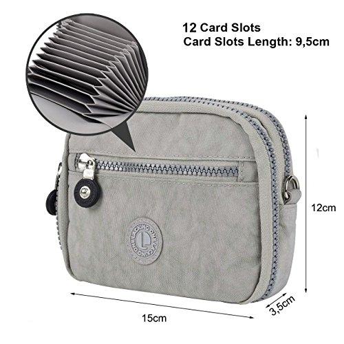 Lackingone Nylon Portafoglio Donna a Tracolla RFID/NFC/Apple Pay Blocco Portafoglio Porta Carte di Credito Porta Passaporto Grigio