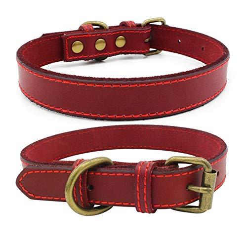 Maritown Hundehalsband, Vintage Style Durable Metallschnalle Einstellbar Weiche Echtes Leder Halsbänder Für Welpen Medium & Extra Kleine Hunde -