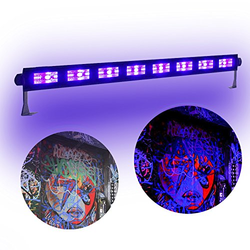 (boryli Metall Gehäuse Violett Light Bar Schwarz UV-9 x LED 3 W, Wand Waschen Licht für DJ Disco Light Dark Effekt Stage leuchtendes Party Halloween Club 9x3W Black Light)