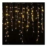 Weihnachtsbeleuchtung Außendekoration 5 Meter Droop 0.4-0.6m LED-Vorhang Eiszapfen-Schnur-Licht Neujahr Hochzeit Garland Licht (Emitting Color : Warm White-220V)