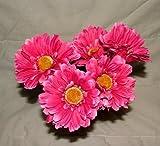 6 x Kunstblume, mit Stiel, pinkfarbene Gerbera Big Bloom-besonders dramatischen, für Haus und Garten