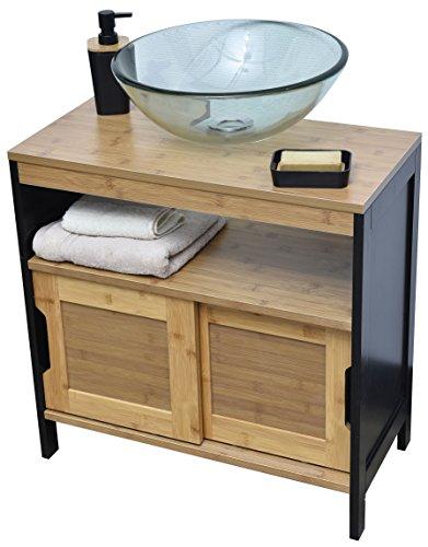 Unterschrank für unter das Waschbecken oder unter die Spüle - 2 Türen, 1 Ablagefläche, 1 Regalboden - Vintage Style - aus BAMBUS - Farbe SCHWARZ und HOLZFARBEN