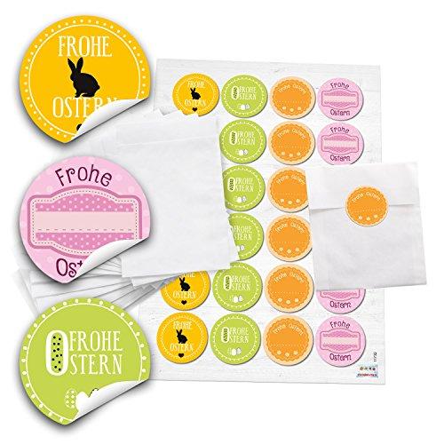 Preisvergleich Produktbild 48 weiße Papiertütchen (10,5 x 15 cm) und 48 runde Aufkleber 4 cm gelb, grün orange und pink (vier Designs) zu Ostern mit Text