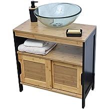 Mueble para debajo del lavabo o fregadero - 2 puertas + 1 estantería + 1 nicho - Estilo Vintage - en BAMBU - Color NEGRO y MADERA